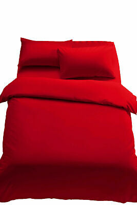 Plain Red Duvet Cover Quilt Set Pillowcases Or Fitted Sheet Single Double King