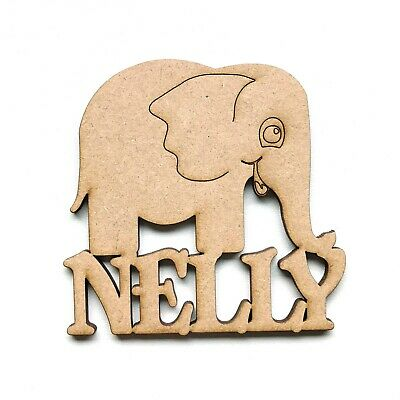 MDF Wooden Personalised Elephant Name Sign Wall Art Embellishment Decoration