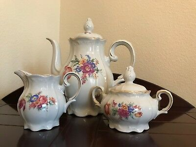 Vintage lJB Porcelain German U.S. Zone Tea Pot, Cream & Covered Sugar
