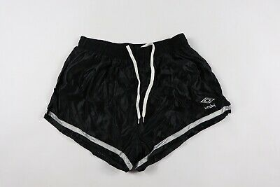 c2ff4ff4d2 Vintage 80s New Umbro Mens Large Spell Out Lined Nylon Soccer Shorts Black
