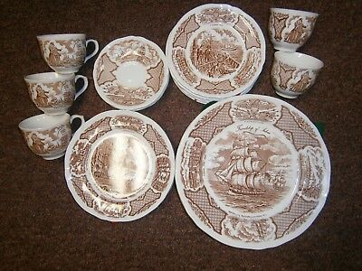 Staffordshire ALFRED MEAKIN Fair Winds DINNER,SALAD,DESERT PLATES, CUPS & SAUC'S