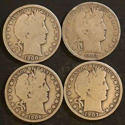 Circulated Barber Half Dollar Coin Lot (4) -  1900, 1902, 1906, 1907 - Lot BH17