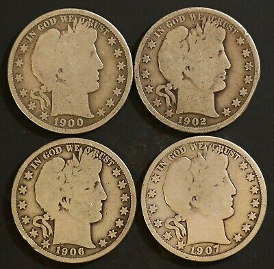 Circulated Barber Half Dollar Coin Lot (4) -  1900, 1902, 1906, 1907 - Lot BH2