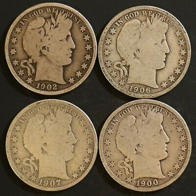Circulated Barber Half Dollar Coin Lot (4) -  1900, 1902, 1906, 1907 - Lot BH4