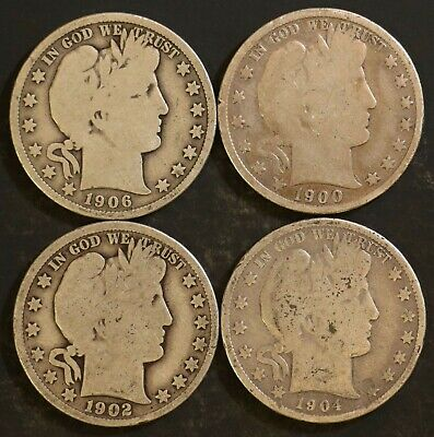 Circulated Barber Half Dollar Coin Lot (4) -  1900,1902,1904,1906 - Lot BH18