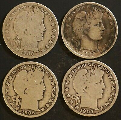 Circulated Barber Half Dollar Coin Lot (4) -  1900,1902,1906,1907 - Lot BH10