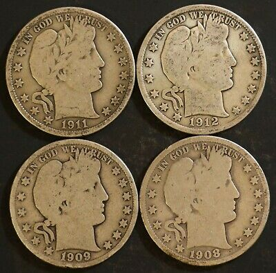 Circulated Barber Half Dollar Coin Lot (4) -  1908S,1909S,1911,1912 - Lot BH9