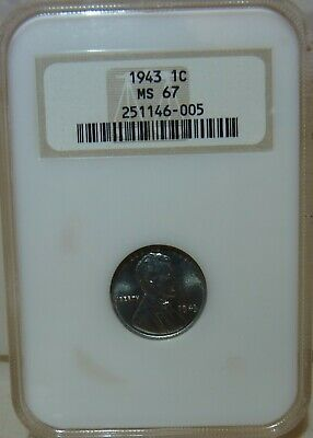 1943 1C Lincoln Wheat Penny Steel Cent NGC Certified MS67 - FREE PRIORITY SHIP