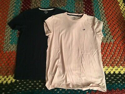 42076fb8 HOLLISTER Men's Must Have Collection TWO (2) Shirts Tee Shirt Pink Blue  Medium