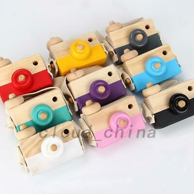 Wooden Mini Camera Pretend Play Toy Kids Children Baby Room Hanging Decor Gift