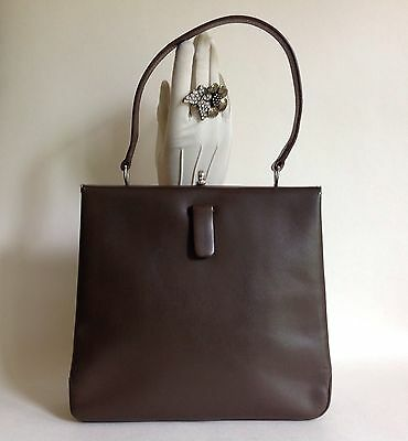 B J Goldband 1960s Brown Leather Vintage Handbag With Fabric Lining Kelly Bag