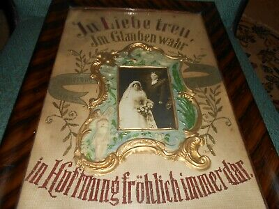Unusual German Punch Paper Marriage Sampler With Marraige Picture