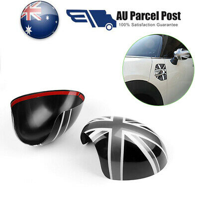 2x Union Jack WING Mirror Covers For MINI Cooper R55 R56 R60 Fold Mirrors AU