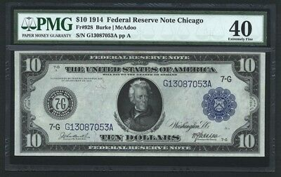 U.S. 1914  $10 Federal Reserve Note Fr. 928, Certified PMG Extremely Fine-40