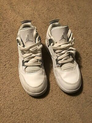 new concept 8871b 17ced NIKE AIR JORDAN 4 RETRO IV PS size 2Y WHITE PURE MONEY PLATINUM KIDS 308499  100