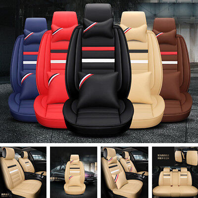 Deluxe PU Leather Seat Cover Full Set Cushion 5-Sit For Car Interior Accessories