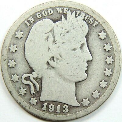 Better Date 1913 Barber Quarter 90 % Silver - Exact Coin Shown 5701