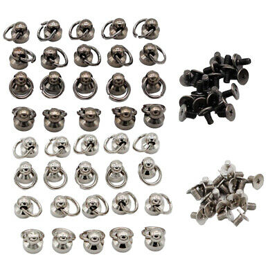 40pcs Ball O Ring Rivet Chicago Screwback Nail Round Head Stud Leather Craft