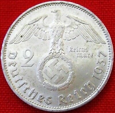 Ww2 Silver Nazi Germany 2 Reichsmark Coin Rare 100% Original Adolf Hitler*