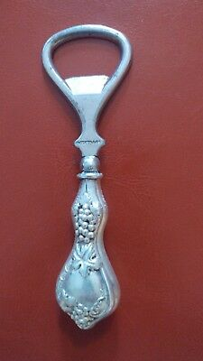Antique Sterling Silver Hollow handled bottle cap opener Grape Pattern