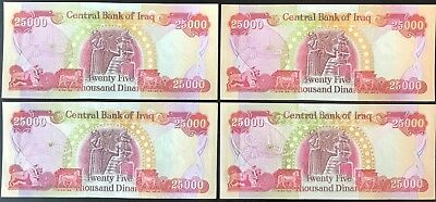 IRAQ MONEY - 100,000 IQD (4) 25000 IRAQI DINAR Notes - AUTHENTIC - FAST DELIVERY