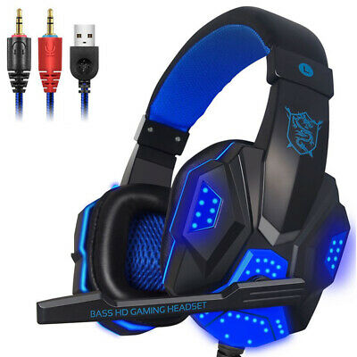 New Deluxe Headset Headphone With Microphone For Xbox One & S Ps4 Pc Mac R6S7C