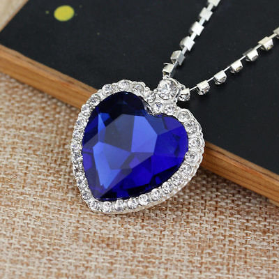 Fashion Blue Crystal Necklace Pendant Titanic Heart Of The Ocean Sapphire