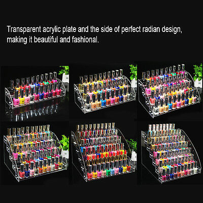 Nail Polish Rack 6 Types Clear Acrylic Organizer Jewelry Display Stand Holder