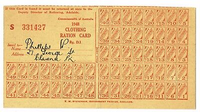 VINTAGE 1948 CLOTHING RATION CARD # S331427 (Adelaide SA) post WWII