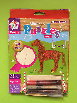 ►►3D wooden puzzle PONY HORSE children kids Make and decorate paint glitter toy