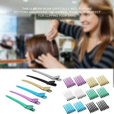 12Pc Hairdressing Salon Sectioning Clips Clamps Hair Styling Grip Hairpins Tools