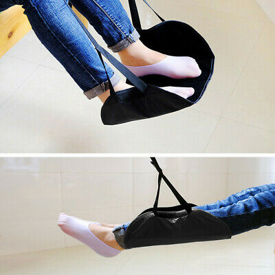 Comfy Hanger Travel Airplane Footrest Hammock Foot Made with Memory Foam Black