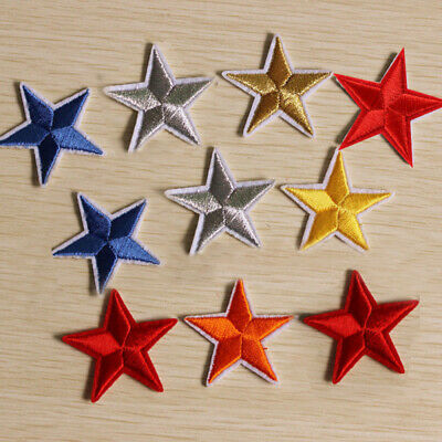 10Pcs Star Embroidered Garment Applique Sew Iron on Patches Badges  Fabric