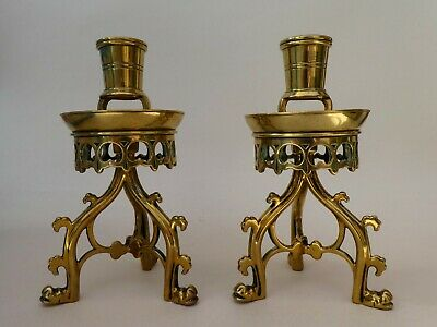 FINE ANTIQUE VICTORIAN PAIR GOTHIC REVIVAL BRASS DESK CANDLESTICKS SIGNED 1890s