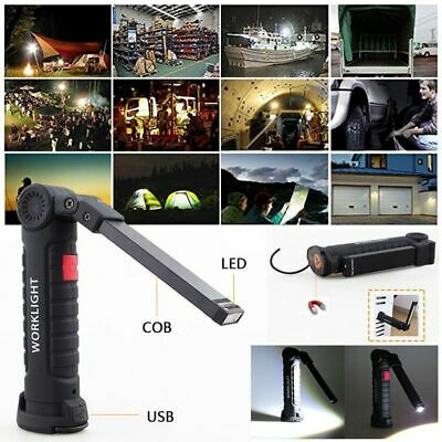 USB Rechargeable COB LED Torch Flashlight Work Light Lamp Magnetic With Hook
