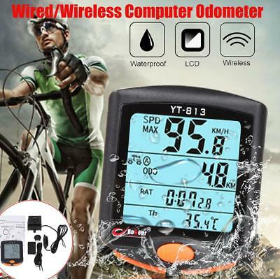 Wired/Wireless Bike Bicycle Cycling Computer Odometer Speedometer Backlight ZH