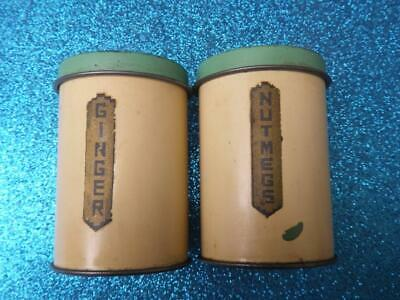 Vintage 1930's Willow Brand Spice Tins Ginger & Nutmegs - Cream with Green Lids