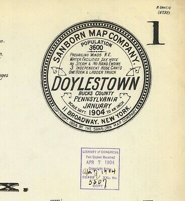 Doylestown, Pennsylvania~Sanborn Map©~14 maps in  color high resolution imagery