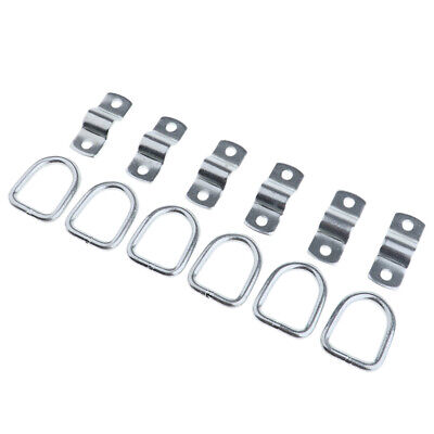 6 Pack Steel D-Ring Tie Downs Case Truck Cargo Trailer RV Boat Anchor D Ring