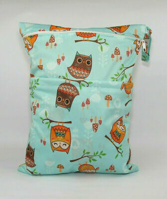 Large Cloth Mama Wet Bag for Nappies, Wipes, Cloth Sanitary Pads, CSP - Owls