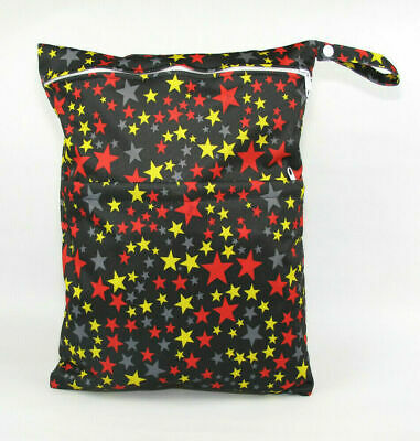 Large Cloth Mama Wet Bag for Nappies, Wipes, Cloth Sanitary Pads - Superstars