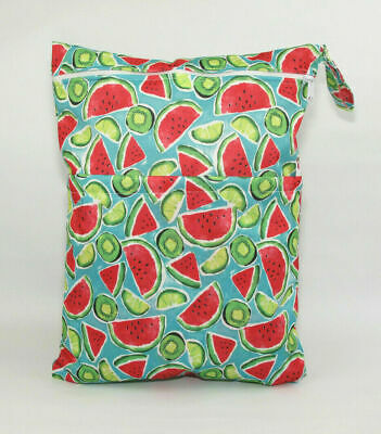 Large Cloth Mama Wet Bag for Nappies, Wipes, Cloth Sanitary Pads - Watermelons