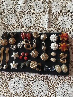 Joblot Of 18 Pairs Of Vintage And Modern Clip On Earrings