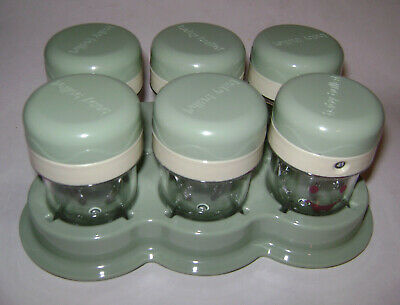 Set of 6 Baby Bullet Replacement Jars Containers Baby Food Holders In Bases NEW
