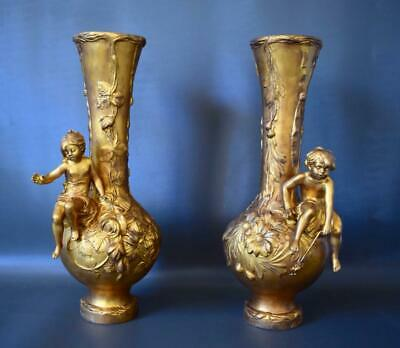 Art Nouveau French Antique Gold Patina Pair of Vases Girl & Boy Signed M.Vives