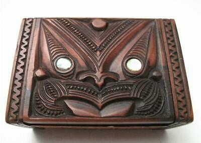 Vintage Maori Tiki Hand Carved Wooden Feather Trinket Box New Zealand Tapu Label