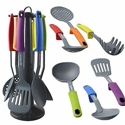 Kitchen Essential 7Pcs Nylon Multi-Coloured Utensil Set With Stand by Alpina