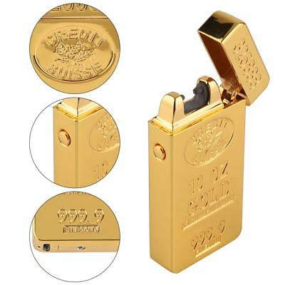 USB Flameless Electric Lighter Dual Arc Cigarette Rechargeable Windproof Gold