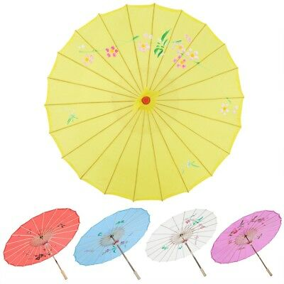 5 Colors Bamboo Paper Umbrella Parasol Dancing Wedding Bridal Party Coasplay Art