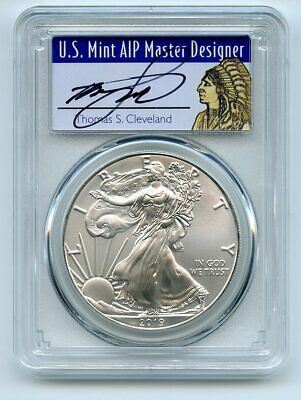 2019 $1 Silver Eagle 1oz PCGS MS70 FDOI First Day Issue Thomas Cleveland Native